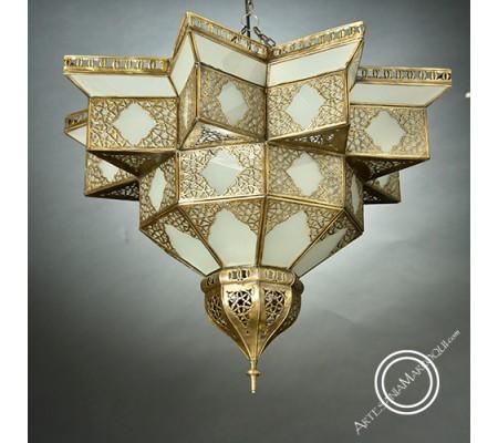 Plafond de cobre y cristal esmerilado de 60 cm