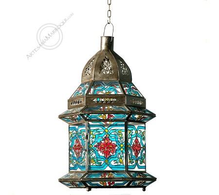 GUERCIF Painted Glass Lantern