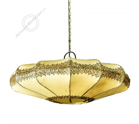 Beige Rawhide And Wrought Iron Ceiling Lamp With Henna Motifs