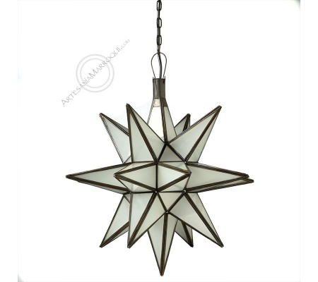 Medium White Glass Star Lamp 42Cm
