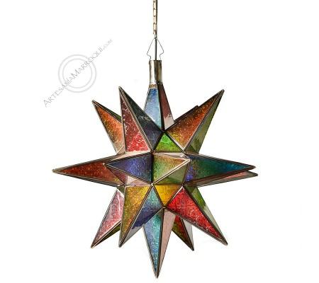 Large Multicolored Glass Star Lamp 52Cm