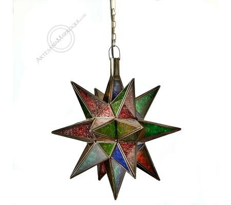 Lámpara estrella de colores mediana 42 cms