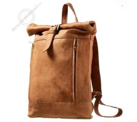 Camel camping leather backpack