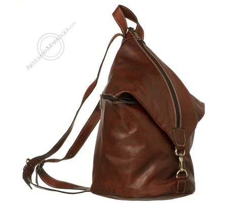Leather backpack with zip closure