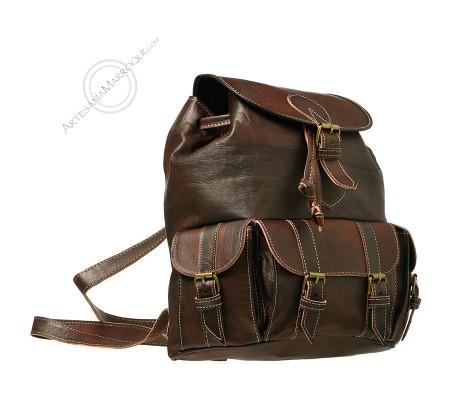Medium 3-pocket leather backpack dark