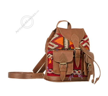 Mini two pockets leather and kilim backpack