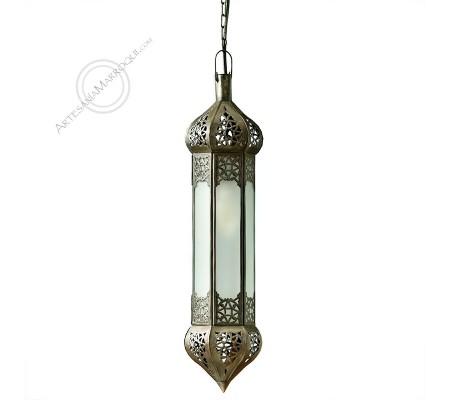 Lámpara-portavelas de cristal esmerilado