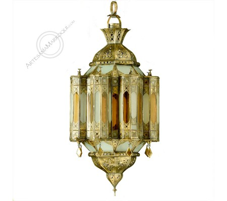 Large glass and copper lamp