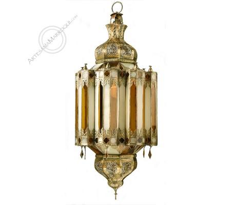 Lámpara gigante de cobre y cristales esmerilados y amarillos