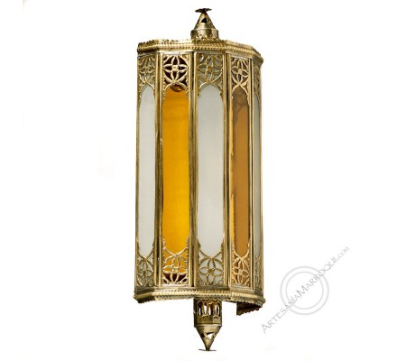 Copper and yellow glass wall light
