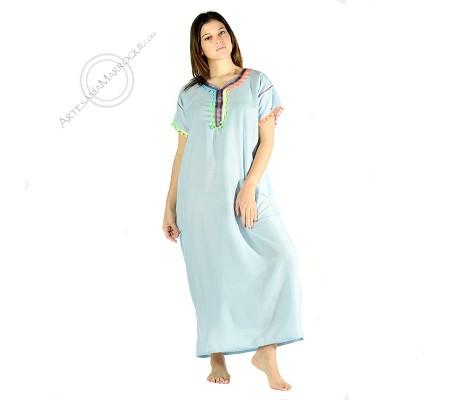 Gandora azul claro con pompones de color