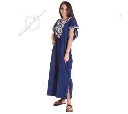 Gandora azul con bordados blancos