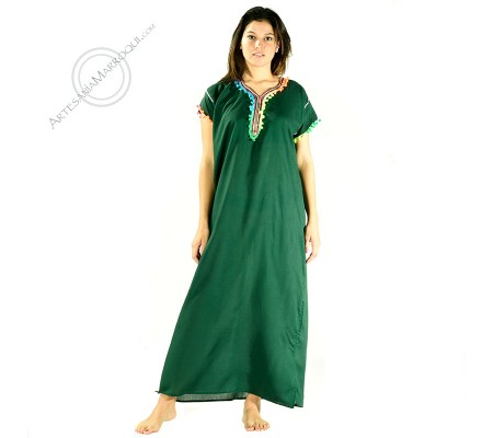 Green gandora tunic with colored pompons