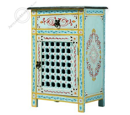 Mesa de noche azul celeste mousharabi