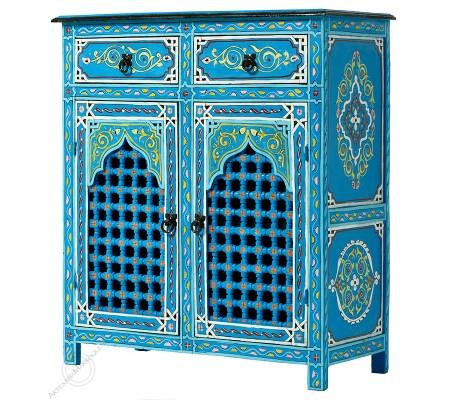 Aparador de dos puertas azul con celosía