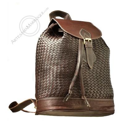 Dark braided leather backpack