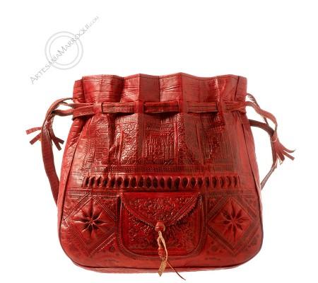 Leather bag Beldi wine color