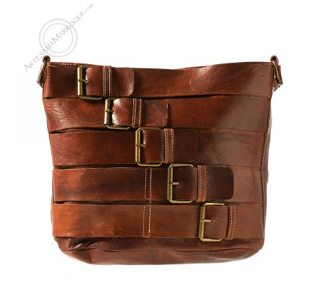 Leather bag with buckles