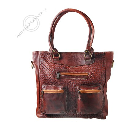 Braided leather bag in cognac color