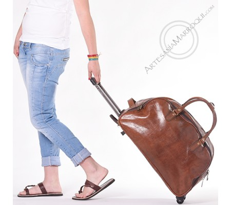 Trolley leather travel bag