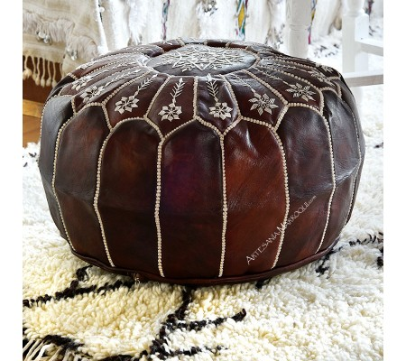 Dark brown embroidered leather pouf