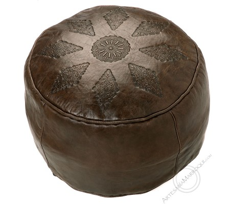 Smooth dark brown leather pouf