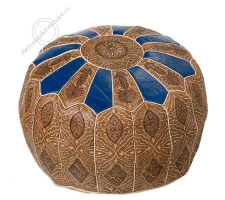 Blue camel skin leather pouf