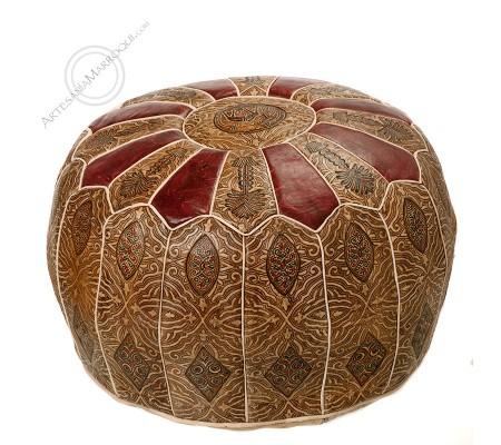 Wine color camel skin leather pouf