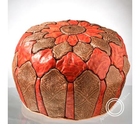 Orange camel skin leather pouf