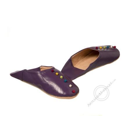 Purple pom pom slipper