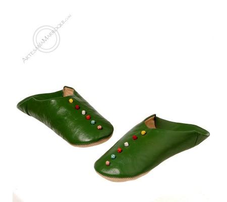 Green pom pom slippers