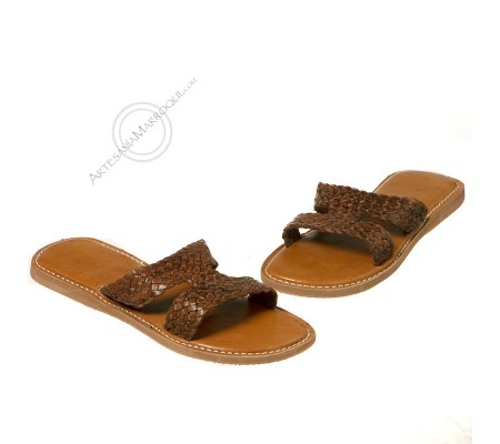 Braided leather sandal