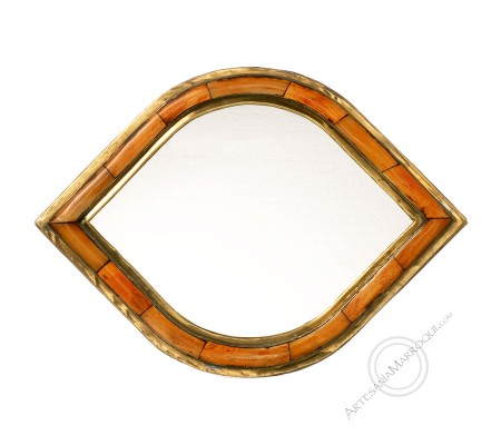 Arabic mirror 026x37 cm in bone and copper