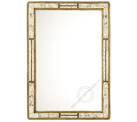 Espejo árabe 045x065 cm de hueso blanco y cobre