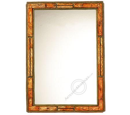 Espejo árabe 045x065 cm de hueso naranja y cobre