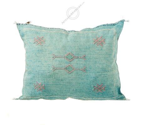 Rectangular light blue sabra cushion
