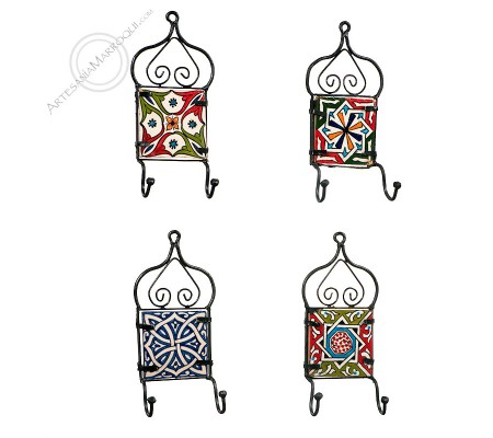 Arabic wrought iron coat rack with two hooks