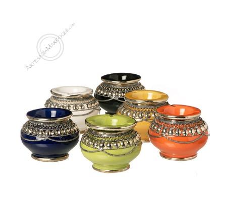 Mini ashtray with nickel silver decorations