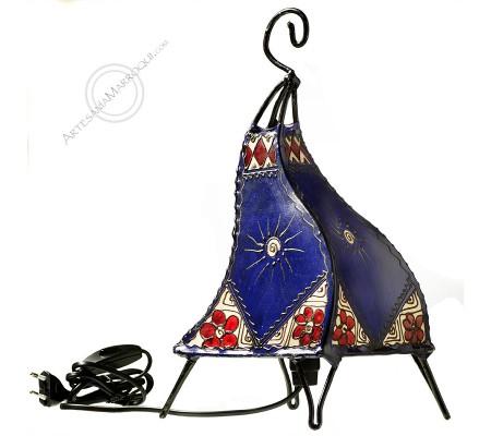 Lámpara 0,40 mt de piel y henna color azul y rojo