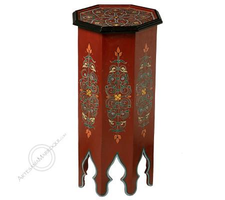 Mesa alta octogonal color burdeos