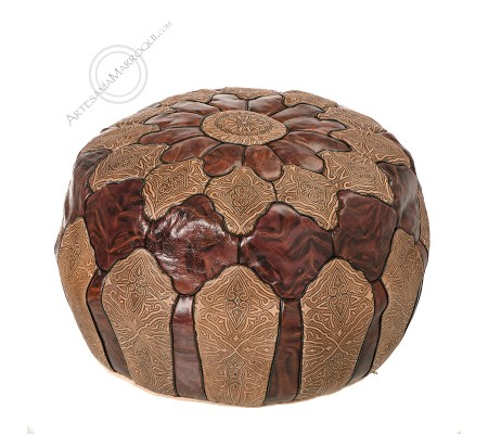 Brown camel skin leather pouf
