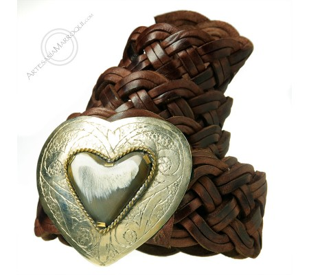 Braided leather belt with heart buckle
