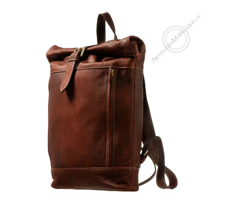 Leather backpack camping cognac
