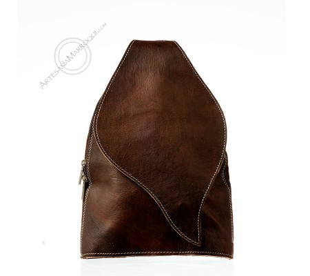 Leather backpack with flap closure