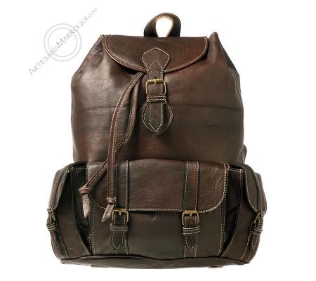 Large 3-pocket leather backpack dark