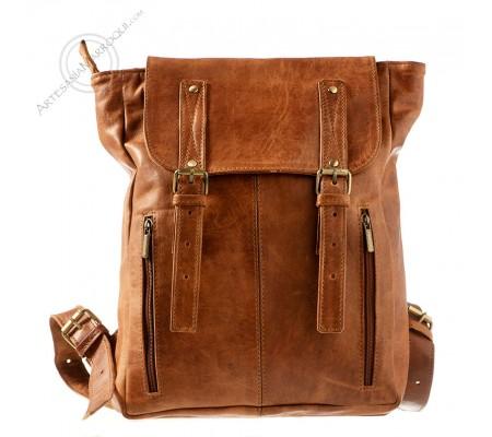 Camel leather backpack Ibrahim