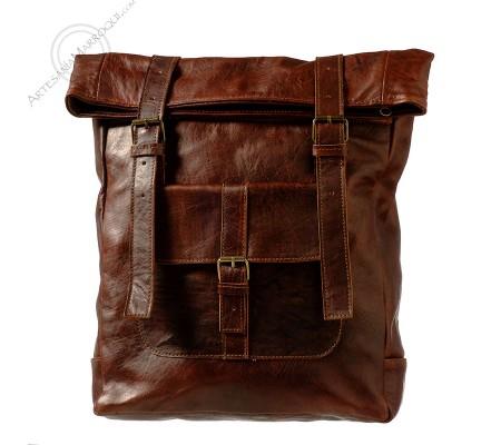Dark Leather Backpack Khalid