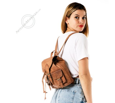 Mini two pockets Camel leather backpack