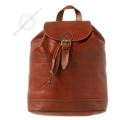 Leather backpack without pockets