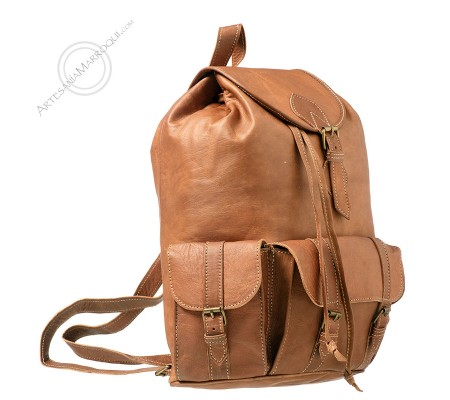 Large leather backpack with three pockets